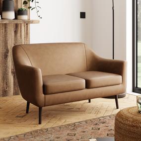 Eddie Distressed Faux Leather 2 Seater Compact Tub Sofa