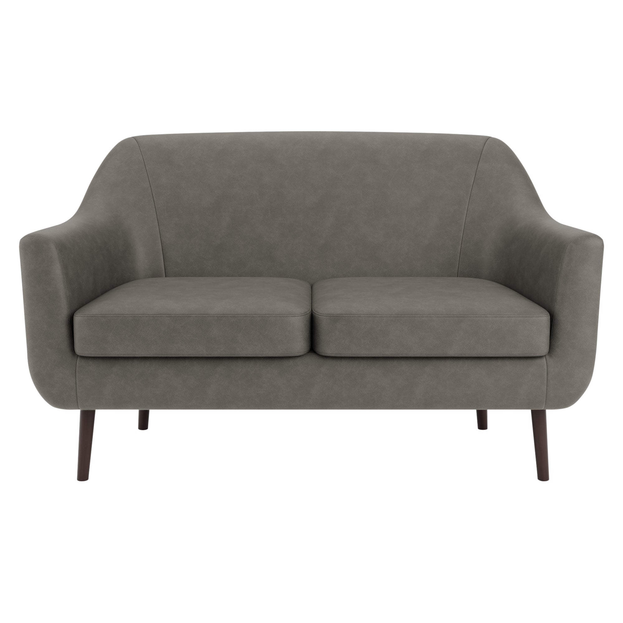 Eddie Distressed Faux Leather 2 Seater Compact Tub Sofa Grey