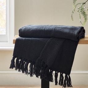 Black Cotton Flex Check Throw