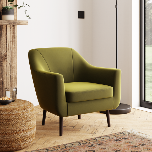 Eddie Velvet Tub Chair Olive (Green)