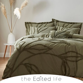 Tufted Leaf Olive 100% Organic Cotton Duvet Cover and Pillowcase Set