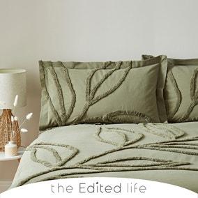 Tufted Leaf Olive 100% Organic Cotton Oxford Pillowcase