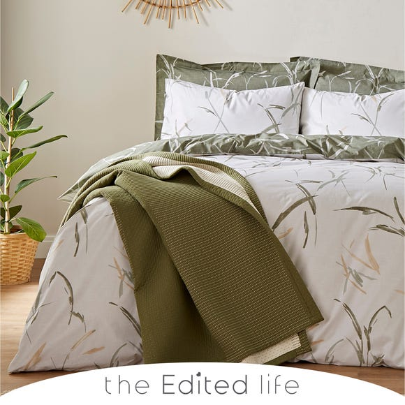Sadie Leaves and Trees Green 100% Organic Cotton Reversible Duvet Cover and Pillowcase Set  undefined