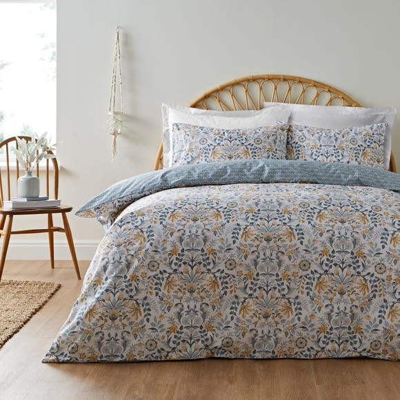 Dorothy Floral Ochre 100% Cotton Reversible Duvet Cover and Pillowcase Set  undefined