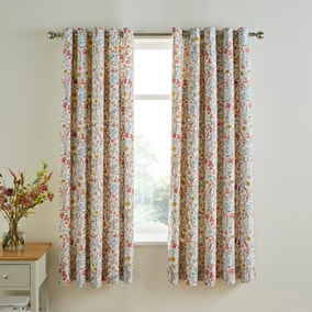 Meadow Ditsy Red Blackout Eyelet Curtains