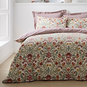 Ruskin Red 100% Cotton Reversible Duvet Cover and Pillowcase Set