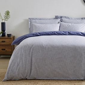 Enzo Chambray Blue 100% Cotton Duvet Cover and Pillowcase Set