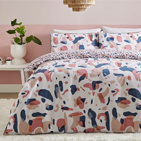 Terazzo Pink Abstract 100% Cotton Reversible Duvet Cover and Pillowcase Set  undefined