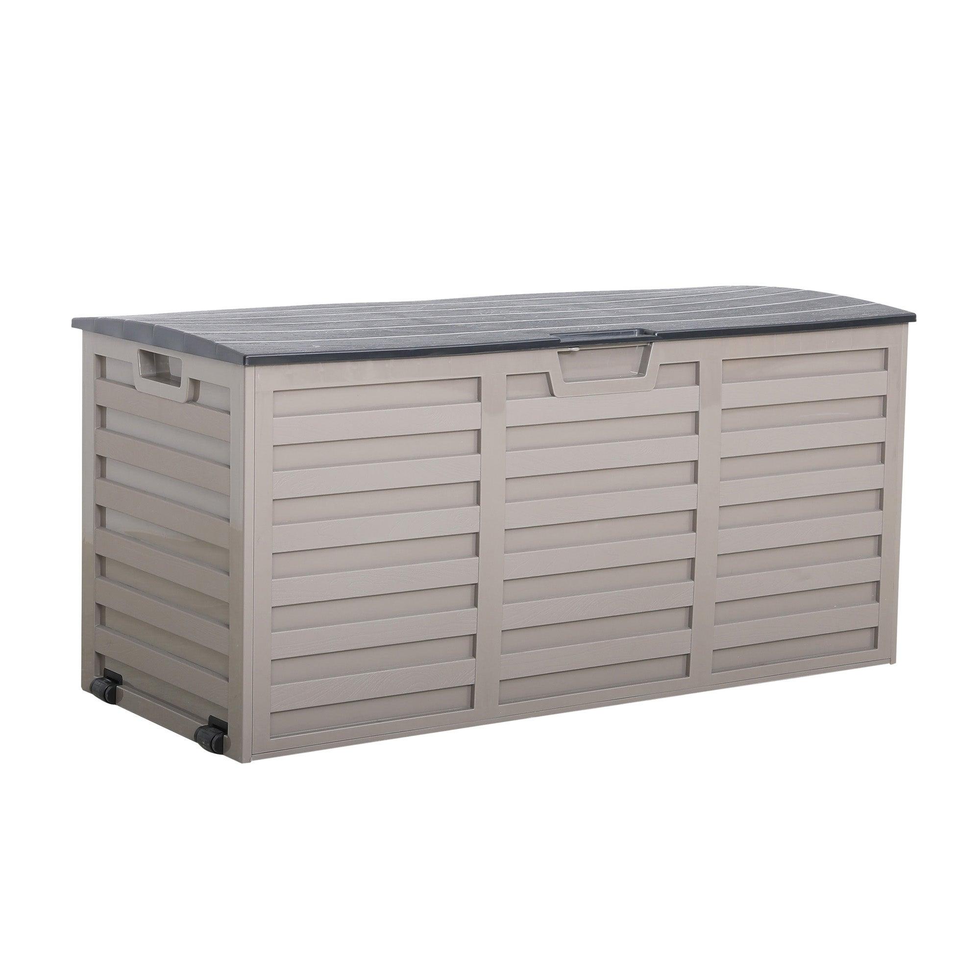 Grey and Black Waterproof Outdoor Storage Box with Wheels Dark Grey