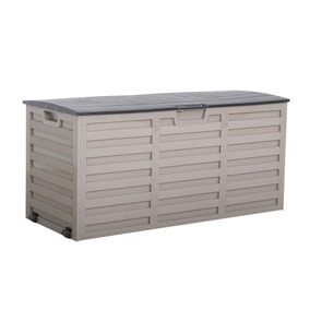 Grey and Black Waterproof Outdoor Storage Box with Wheels
