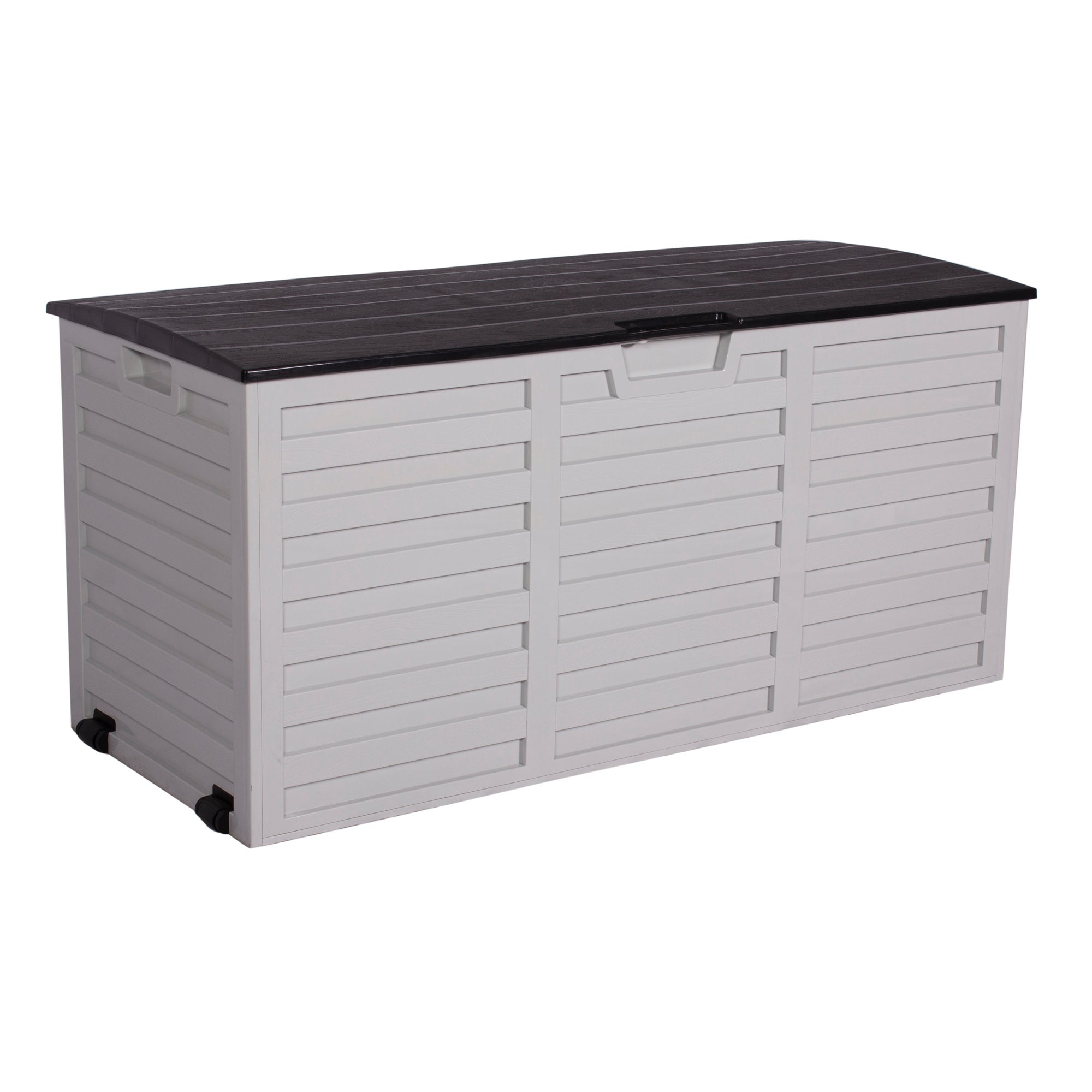 White and Black Waterproof Outdoor Storage Box with Wheels White
