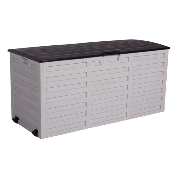 White and Black Waterproof Outdoor Storage Box with Wheels