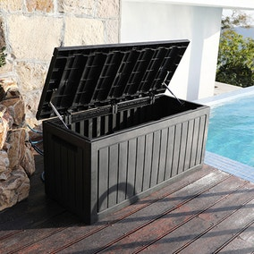 Black Deluxe Waterproof Outdoor Storage Box with Double Gas Lift