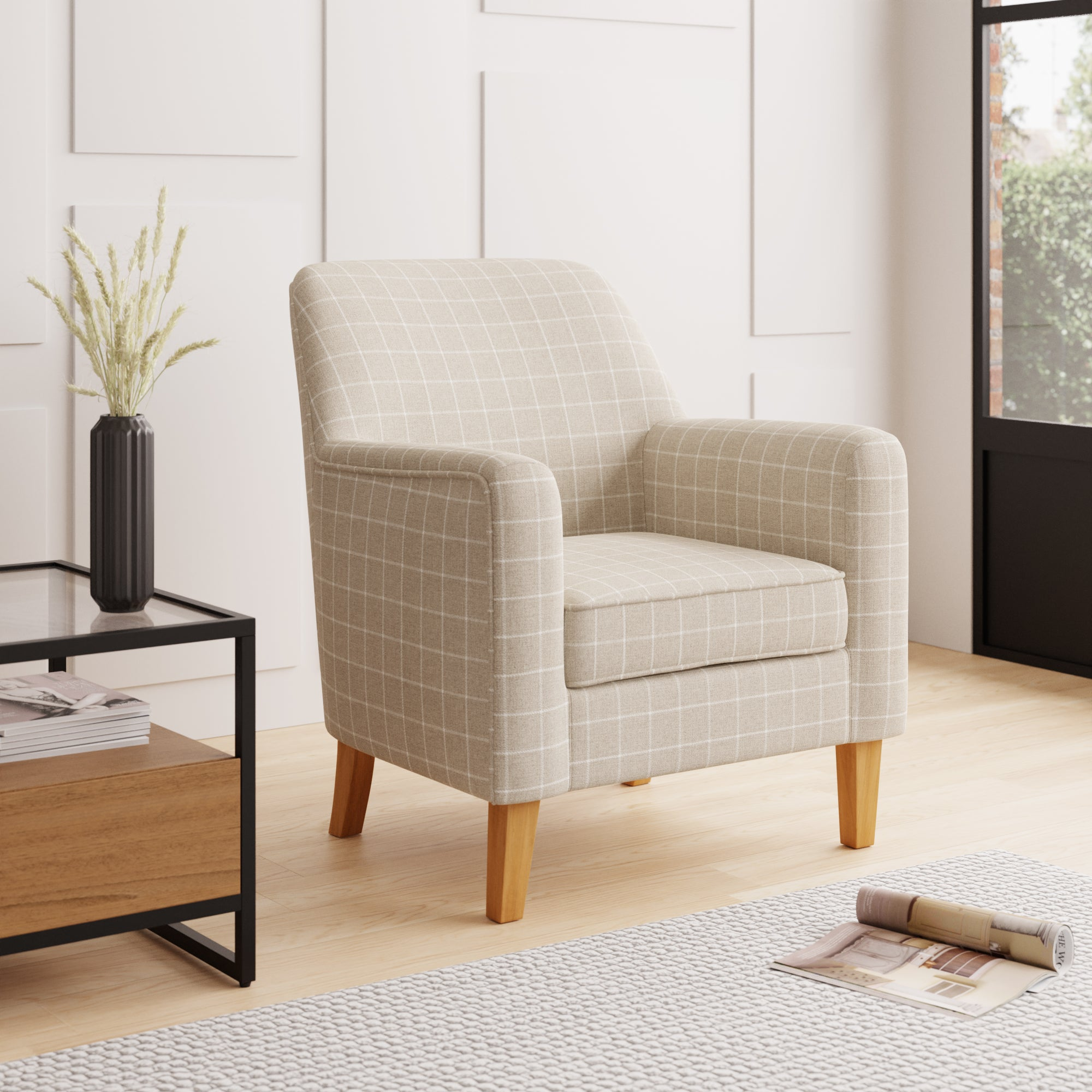 Cooper Window Pane Check Armchair Natural