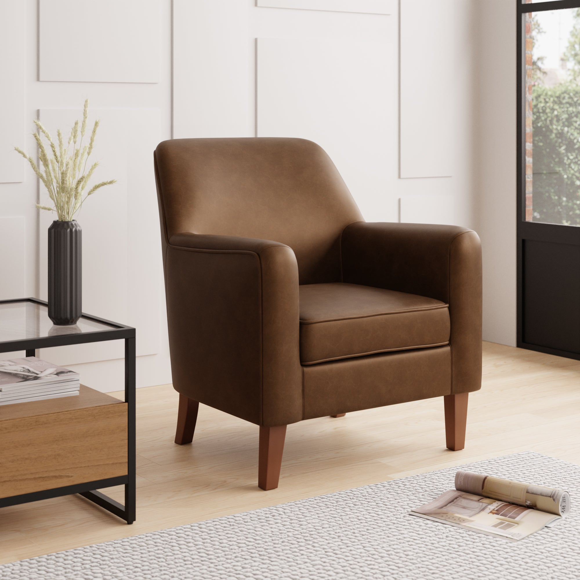 Cooper Faux Leather Armchair Tan (Brown)