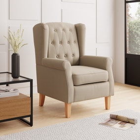 Oswald Button Back Faux Wool Armchair