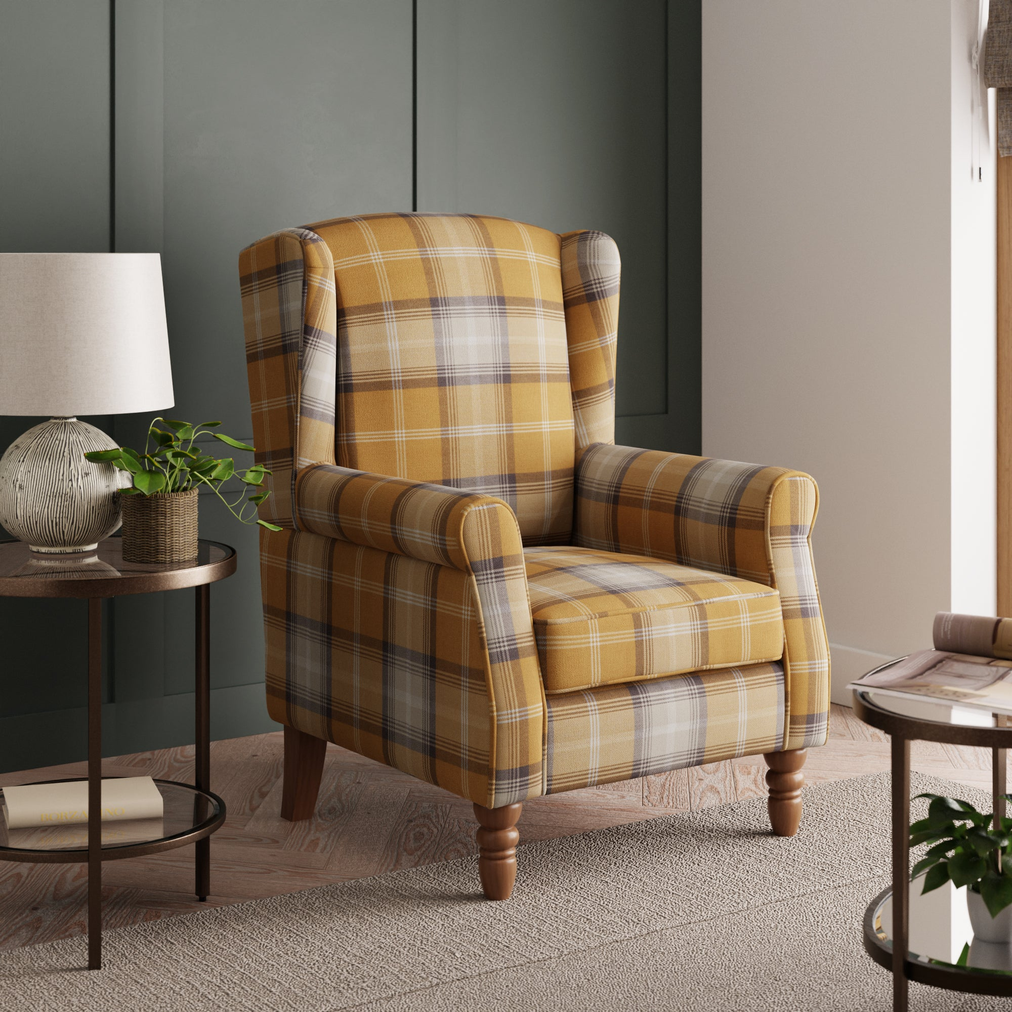 Oswald Check Wingback Armchair - Old Gold Old Gold