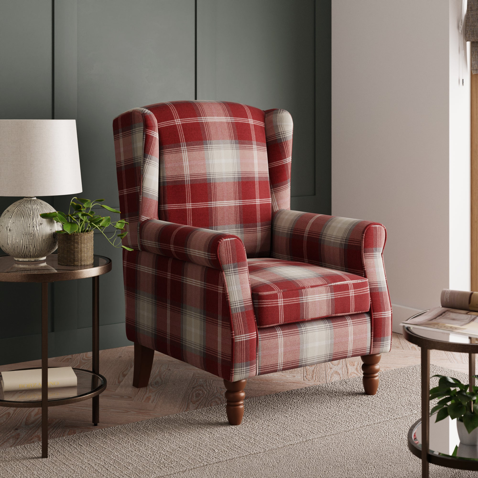 Oswald Check Wingback Armchair - Red Red/White