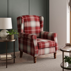 Oswald Check Wingback Armchair - Red