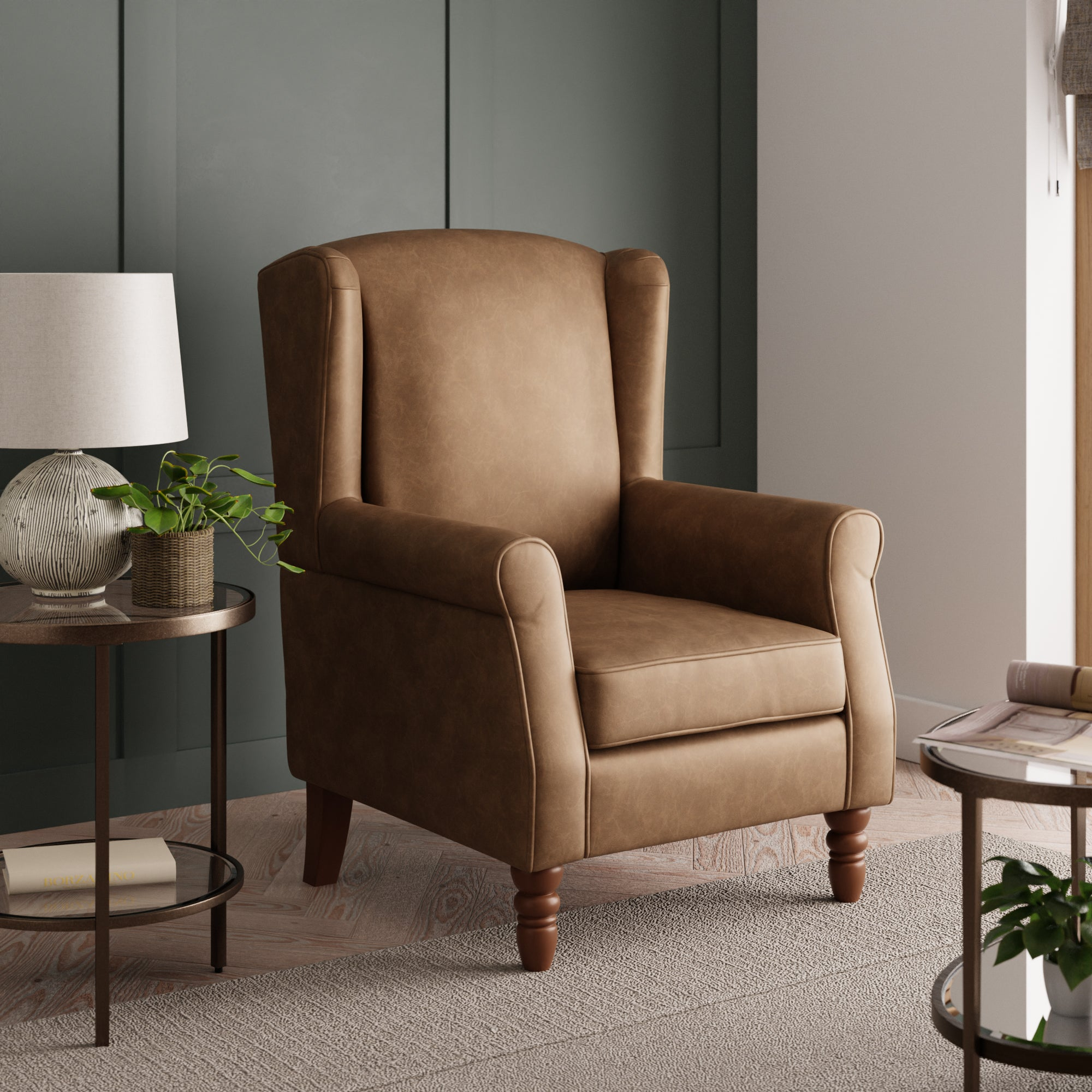 Oswald Tan Distressed Faux Leather Armchair Tan (Brown)