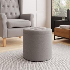 Oswald Faux Wool Round Storage Footstool