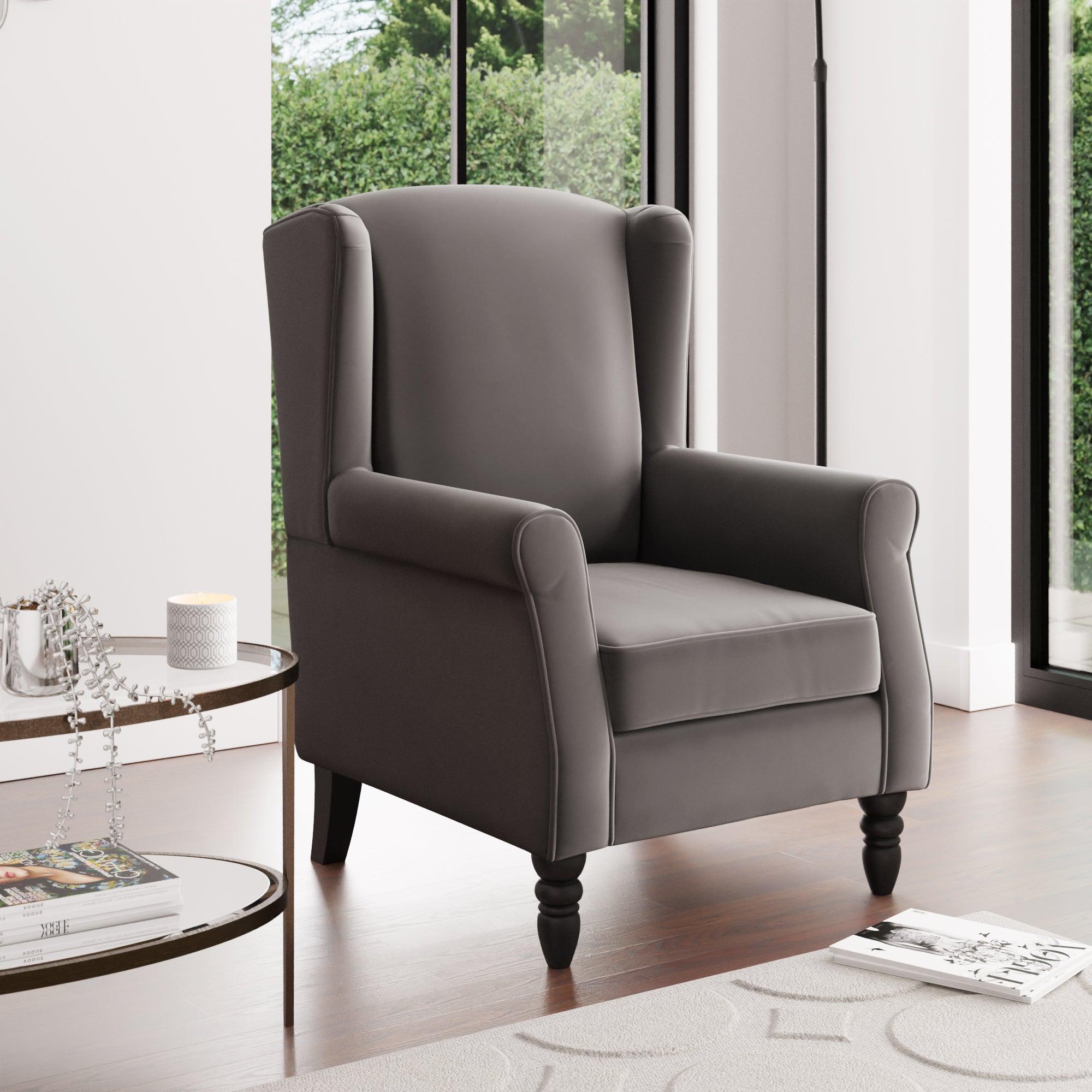 Oswald Wingback Armchair Velvet Grey