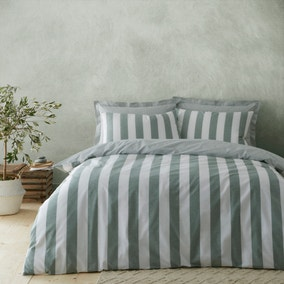 Holmes Green Striped 100% Cotton Reversible Duvet Cover and Pillowcase Set