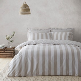 Holmes Natural Striped 100% Cotton Reversible Duvet Cover and Pillowcase Set