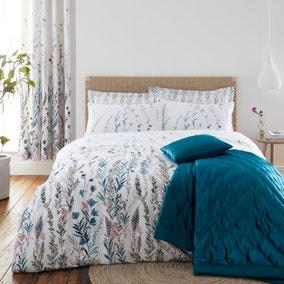 Whimsical Botanical Green 100% Cotton Reversible Duvet Cover and Pillowcase Set