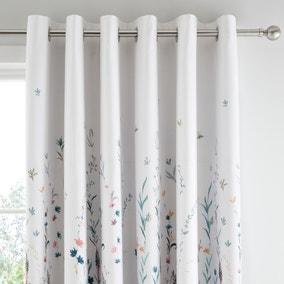 Whimsical Botanical Floral Blackout Eyelet Curtains