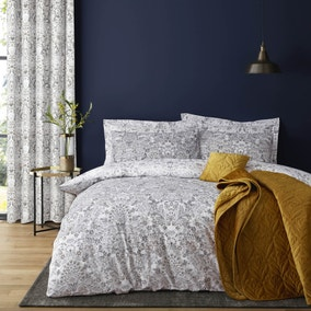 Hardwick Floral Grey Reversible Duvet Cover and Pillowcase Set