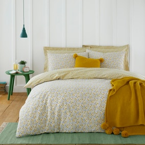 Bessie Ditsy Floral Ochre 100% Cotton Reversible Duvet Cover and Pillowcase Set