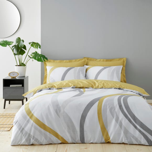 Mirage Ochre Reversible Duvet Cover and Pillowcase Set  undefined
