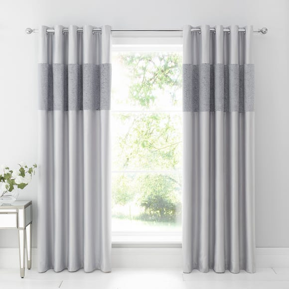 Beverley Luxe Charcoal Blackout Eyelet Curtains  undefined