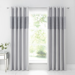 Beverley Luxe Charcoal Blackout Eyelet Curtains