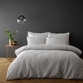 Mandalay Silver Duvet Cover and Pillowcase Set