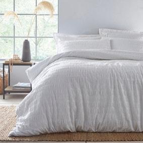 Aria Seersucker White 100% Cotton Duvet and Pillowcase Set