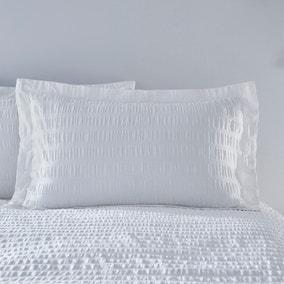 Aria Seersucker White 100% Cotton Oxford Pillowcase