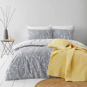 Belle Charcoal Duvet Cover and Pillowcase Set