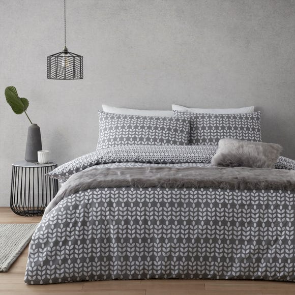 Elements Vete Grey Reversible Duvet Cover and Pillowcase Set  undefined