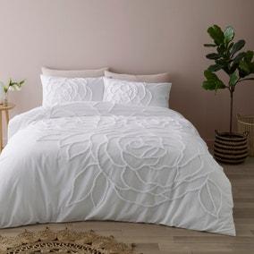Talia White Tufted 100% Cotton Duvet Cover and Pillowcase Set