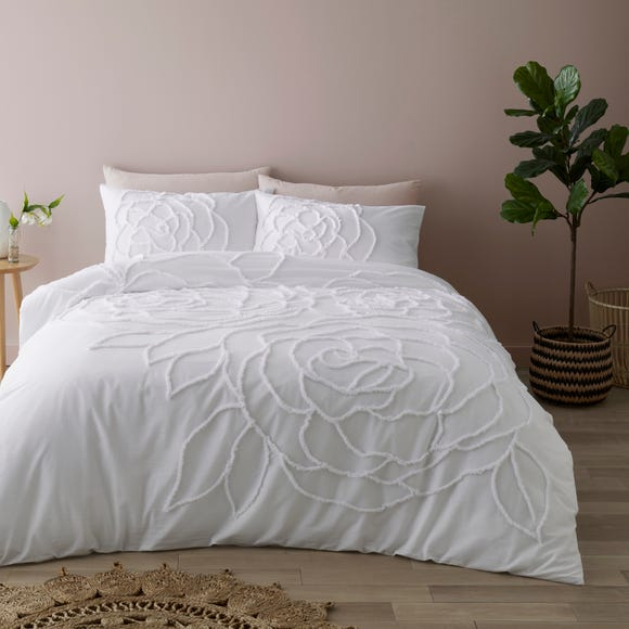 Talia White Tufted 100% Cotton Duvet Cover and Pillowcase Set  undefined