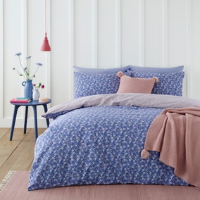 Bessie Ditsy Floral Navy 100% Cotton Reversible Duvet Cover and Pillowcase Set