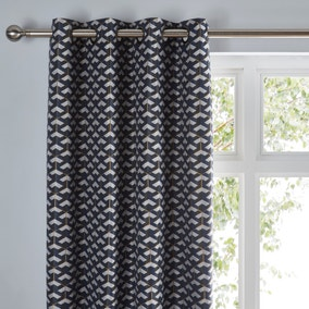 Symmetry Navy Eyelet Curtains