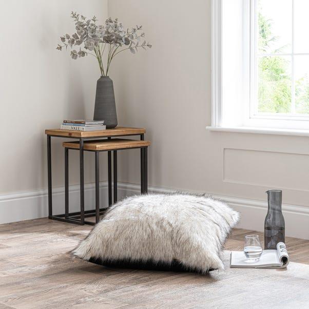 Husky White Floor Cushion Brown