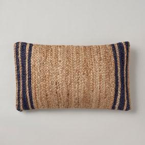 Jute Navy Edge Cushion