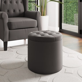 Oswald Velvet Round Storage Footstool