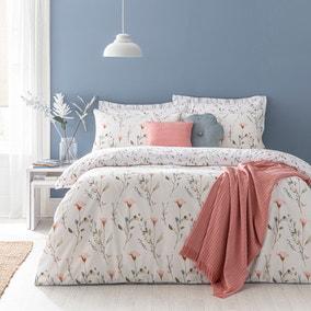Fiori Burnt Orange Floral Reversible Duvet Cover and Pillowcase Set
