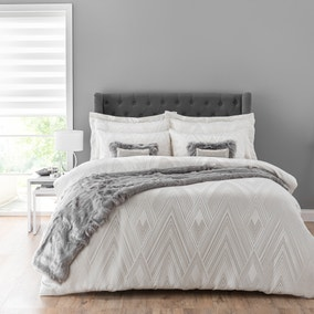Astaire Silver Jacquard Duvet Cover and Pillowcase Set
