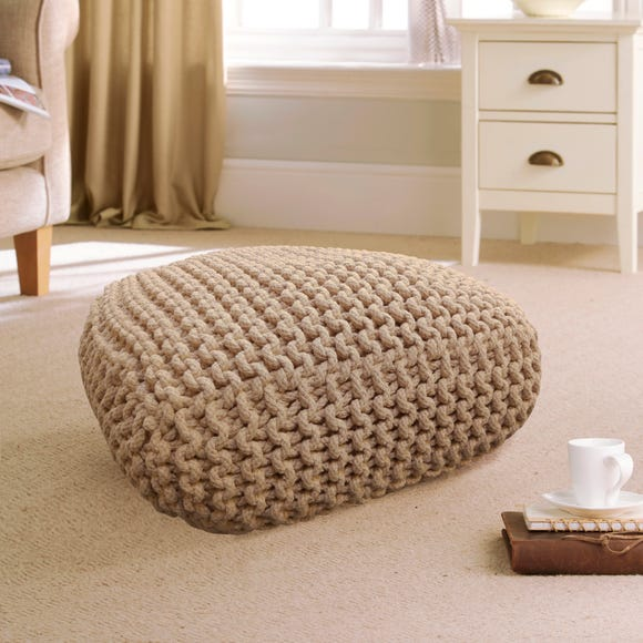 Hand Woven Natural Floor Cushion Natural undefined